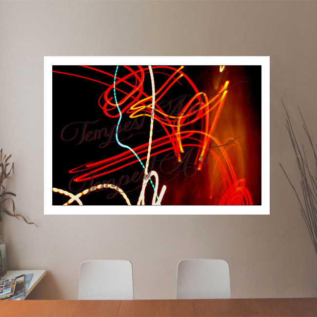 Anger Red lines sharply turning and contorting Lightworks Office Art Print Tempest Art