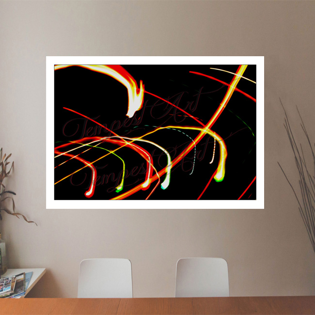 Dragon's Descent Colorful lights in a spiral with dragons decending Lightworks Office Art Print Tempest Art