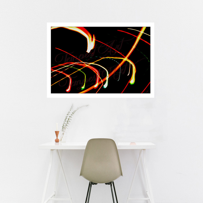Dragon's Descent Colorful lights in a spiral with dragons decending Lightworks Home Art Print Tempest Art