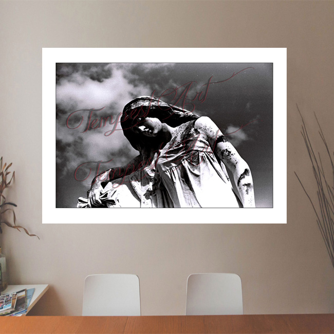 Saygirl beautiful statue of a woman leaning her arm on a tomb in one of New Orlean's cemeteries NOLA Photography Office Art Print Tempest Art