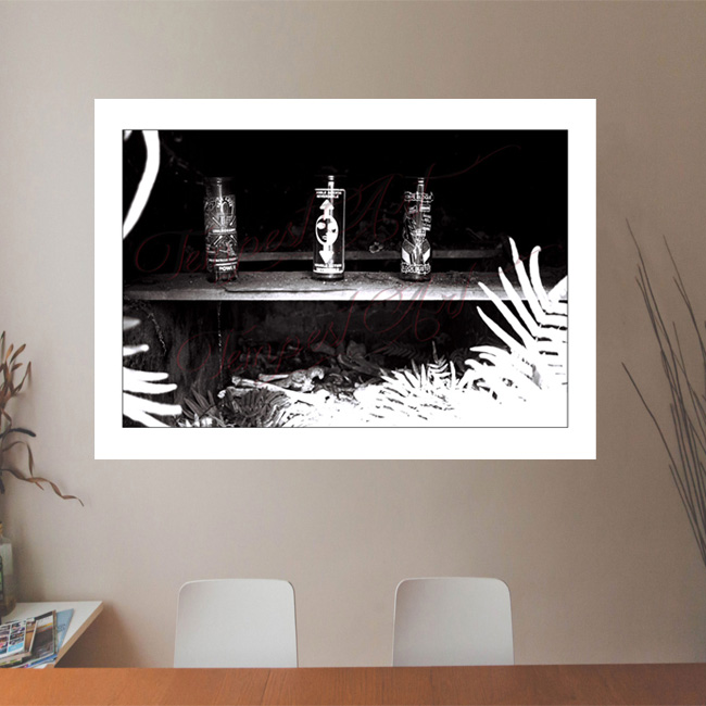 Votives open New Orleans tomb with visible skeleton bones NOLA Photography Office Art Print Tempest Art