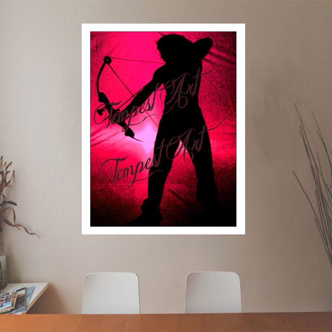 Sagittarius in black silluete with bow and arrow pointing down with a fuchsia grunge backdrop Office Art Print Tempest Art