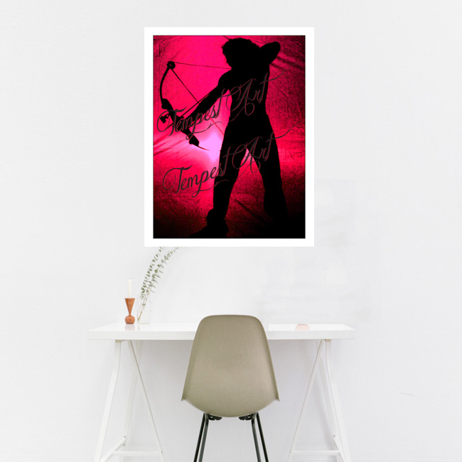 Sagittarius in black silluete with bow and arrow pointing down with a fuchsia grunge backdrop Home Art Print Tempest Art