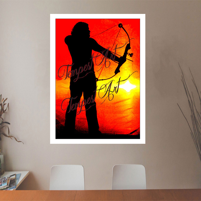 Sagittarius in black silluete with bow and arrow pointing down and looking out into a red orange horizon backdrop Office Art Print Tempest Art