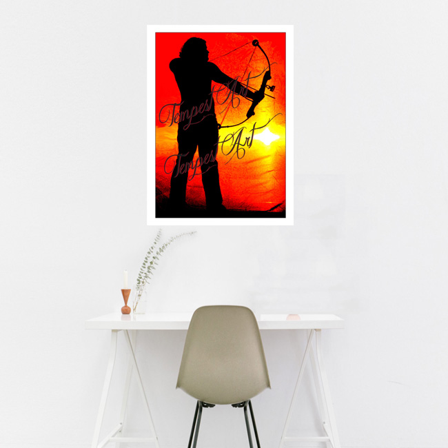 Sagittarius in black silluete with bow and arrow pointing down and looking out into a red orange horizon backdrop Home Art Print Tempest Art