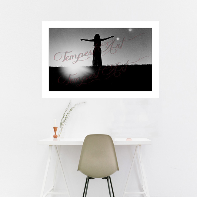 Bliss Woman in dark shadow silluete with arms open wide standing on grass hill at New Orleans levee NOLA Photography Home Art Print Tempest Art