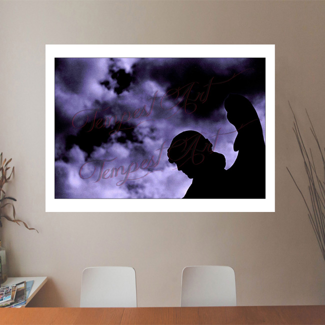 Shadows statue of a guardian angel with wings standing in dark silluete in black shadow with clouds in the background NOLA Photography Office Art Print Tempest Art