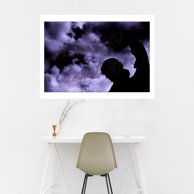 Shadows statue of a guardian angel with wings standing in dark silluete in black shadow with clouds in the background NOLA Photography Home Art Print Tempest Art