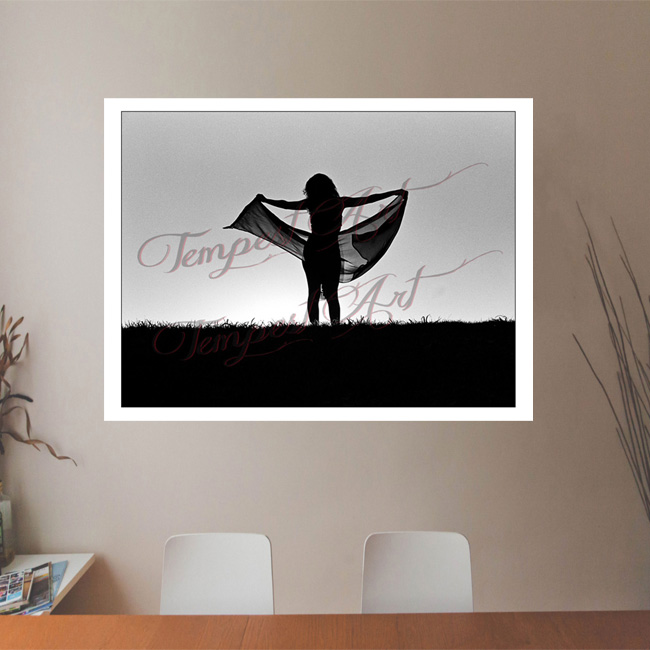 Bliss Woman in dark shadow silluete with arms open wide holding a black scarf in the wind standing on the grass hill of New Orleans levee NOLA Photography Office Art Print Tempest Art