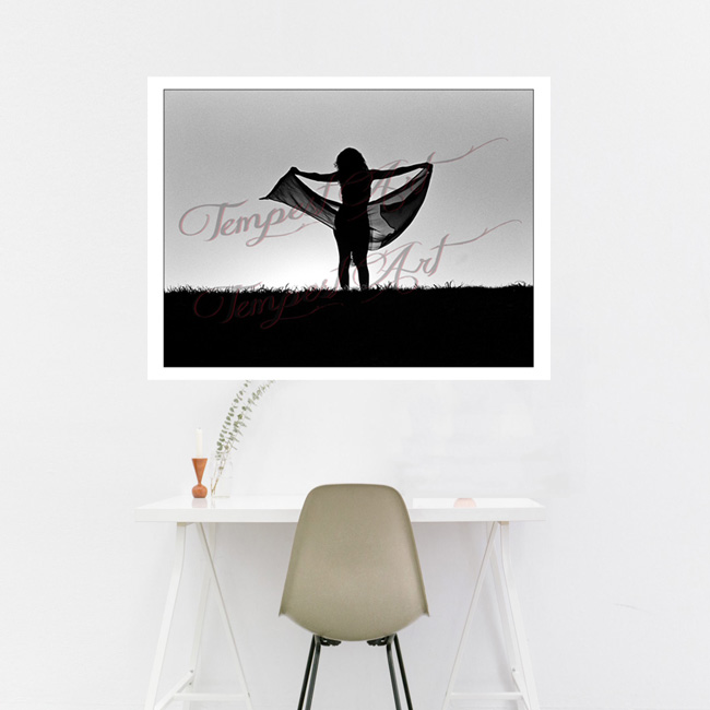 Bliss Woman in dark shadow silluete with arms open wide holding a black scarf in the wind standing on the grass hill of New Orleans levee NOLA Photography Home Art Print Tempest Art