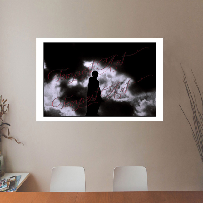 Clouds Statue of an angel in dark silluete in black shadow with black and white clouds in the background NOLA Photography Office Art Print Tempest Art
