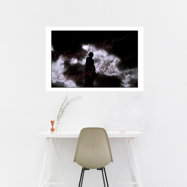 Clouds Statue of an angel in dark silluete in black shadow with black and white clouds in the background NOLA Photography Home Art Print Tempest Art