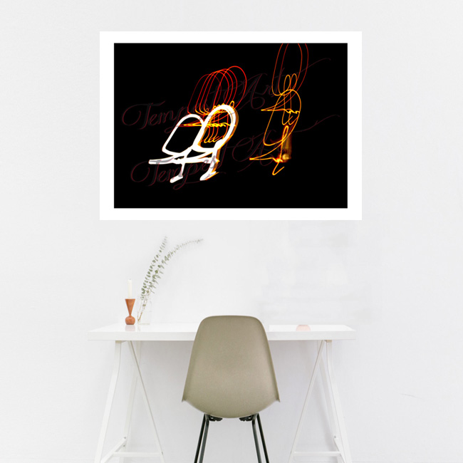 Deez Nuts Orange and white lines in a circular motion Lightworks Home Art Print Tempest Art