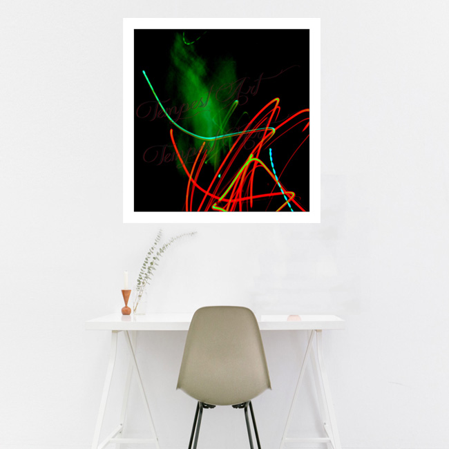 Genie green fog or smoke that appears to be coming out of the lights Lightworks Home Art Print Tempest Art