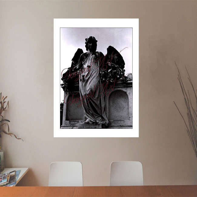 Guardian Angel A statue of a guardian angel with wings standing beside a tomb in one of New Orlean's cemeteries NOLA Photography Office Art Print Tempest Art
