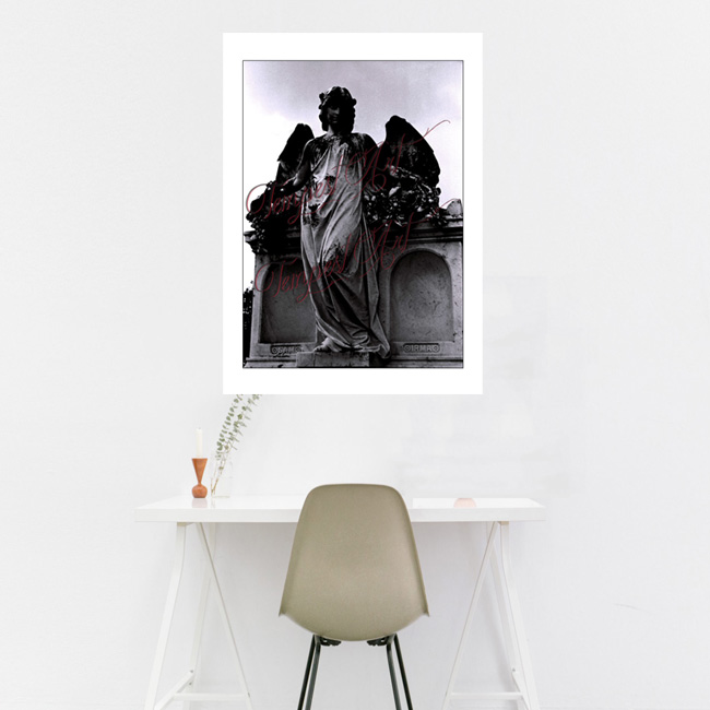 Guardian Angel A statue of a guardian angel with wings standing beside a tomb in one of New Orlean's cemeteries NOLA Photography Home Art Print Tempest Art
