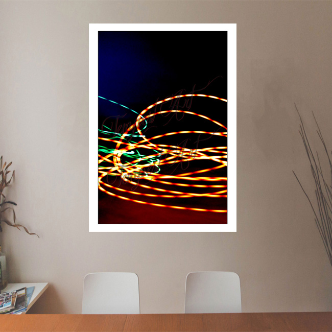 Half Life Blue and red light smoke with green and orange lines clashing Lightworks Office Art Print Tempest Art
