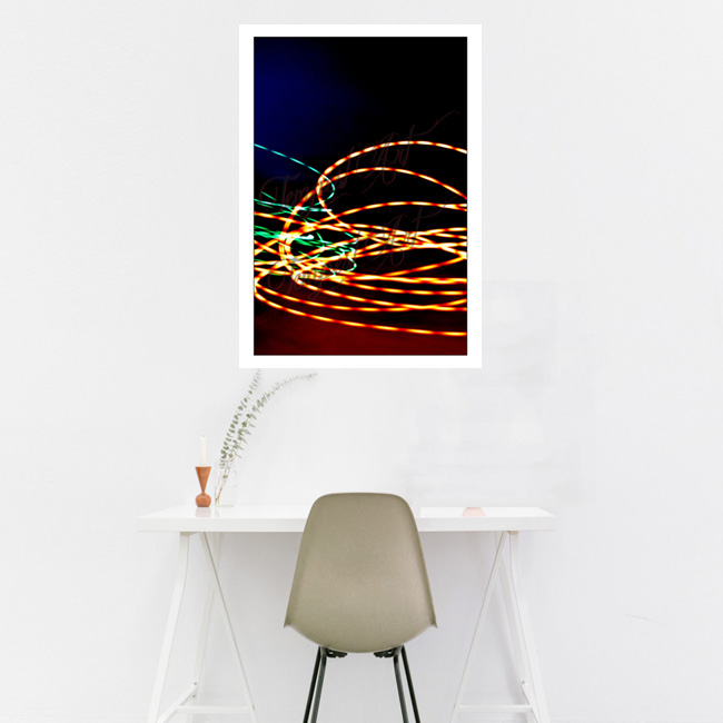 Half Life Blue and red light smoke with green and orange lines clashing Lightworks Home Art Print Tempest Art