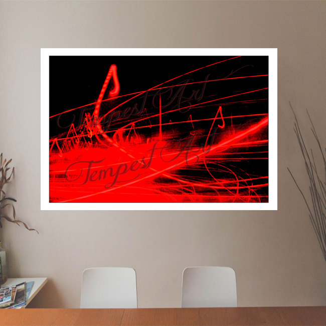 Pulse large red pool with red lines on a black background Lightworks Office Art Print Tempest Art
