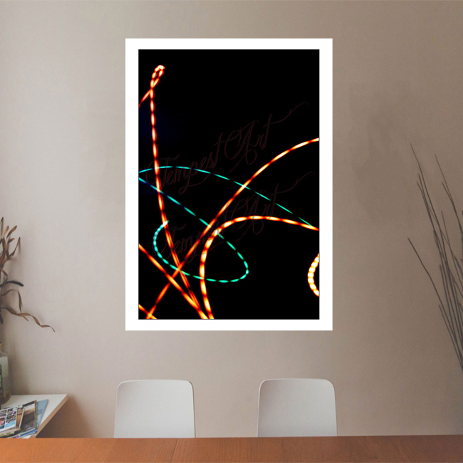 Superman Orange and green lines curves into an s shape on a black background Lightworks Office Art Print Tempest Art