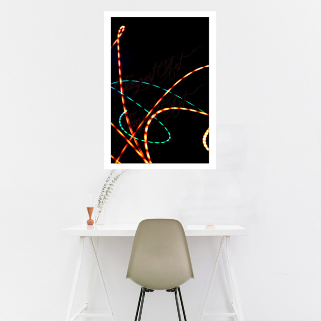 Superman Orange and green lines curves into an s shape on a black background Lightworks Home Art Print Tempest Art